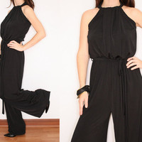 Black Jumpsuit 70s jumpsuit Wide Leg Pants for Women