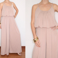 Wide Leg Jumpsuit Palazzo Pants in Blush Pink for Women