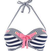 Kelly Brook Blue and White Stripe Bikini Top