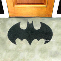 Batman sign rug. Shape doormat. Custom door mat logo.