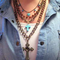 Junk Gypsy Style Multi Strand Pearl, Turqioise Chain Cross Necklace-Country Western Girl, Rustic, Country, Rockabilly
