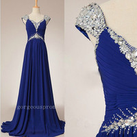 V-neck straps sleeveless floor-length chiffon crystal sequins beading long prom