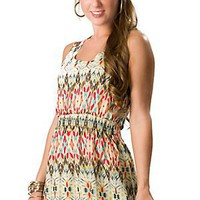 Ocean Drive Women&#x27;s Tan Multi Print Chiffon with a Crochet Mesh Back Sleeveless Dress