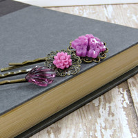 Purple Bobby Pins, Romantic Hair Accessories, Violet Flowers with Art Deco Glass Fan Bobby Pin Set by Flower Couture