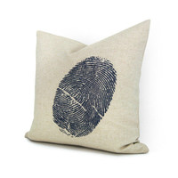 Fingerprint pillow case - Navy blue fingerprint image on natural beige cotton canvas throw pillow cover - 16x16 decorative pillow cover