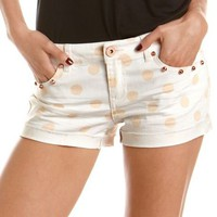 Studded Polka Dot Denim Short: Charlotte Russe