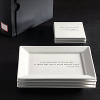 Literary Quote Cocktail Plate and Coaster Sets, Ralph Waldo Emerson