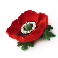 Hair clip red Poppy with green leaves felted flower, ready to ship