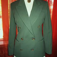 AUSTIN REED JACKET W GOLDEN LOGO BUTTONS GREEN  WOOL LINED!S8P !MADE IN USA
