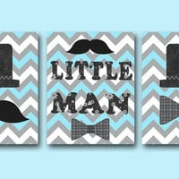 "Little man Baby Boy Nursery art print Childrens Wall Art Baby Room Decor Kids Art Kids Print set of 3 11"" x 14"" Little man blue gray"