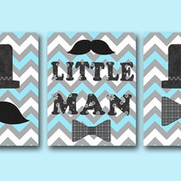 Little man Baby Boy Nursery art print Childrens Wall Art Baby Room Decor Kids Art Kids Print set of 3 11&quot; x 14&quot; Little man blue gray