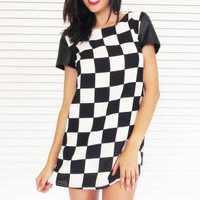 Dress Shift Mini in Checker Print