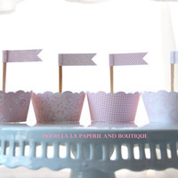 Pretty In Pink Cupcake Wrapper and Cupcake Flag- Set of 12