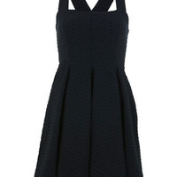 Black Texture Bib Pinafore - View All  - Dress Shop