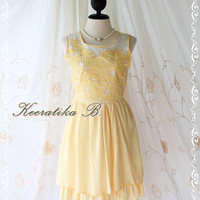 Baroque Pastel Floral Dress - Pastel Floral Pattern Organza Top Yellow Color Party Bridesmaid Graduation Dress