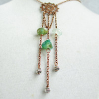 Long Gear Necklace with Copper Chain & Dangly Moss Agate Stones