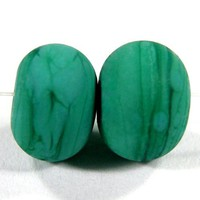 Etched Beads Handmade Lampwork Beads Opaque Matte Petroleum Green Bead