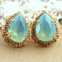 Clear Mint Crystal big teardrop stud earring - 14k plated gold post earrings real swarovski rhinestones .