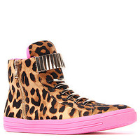 The Jeffrey Campbell  Kiefer Sneaker in Brown Leopard with Fuchsia Bottom Meta Description