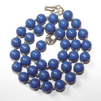Vintage 60s BLUE Bubble Gum Ball Small Bead Necklace Retro Pin-Up Madmen