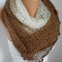 Infinity Scarf Loop Scarf Circle Scarf  Knitted Lace Scarf - Cowl Scarf - Long Scarf - Tube Scarf - from Brown to Beige  -anils