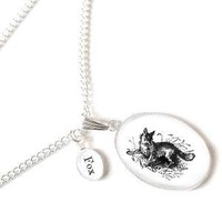 F is for Fox NECKLACE Victorian Alphabet with large by adorapop