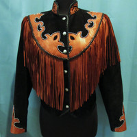 Vintage Black suede with british tan Leather FRINGE Cut Out silver beaded studs Concho Western jacket. Diamond Leathers. made in USA size S