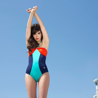 1950s retro style one piece strapless Swimsuit / Red ,Royal Blue and Sea Blue one piece strapless bathing suit
