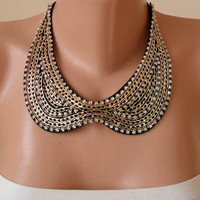 Gift - New Necklace - Collar Necklace with Chain and Rhinestone