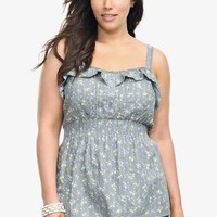 Grey Floral Smocked Waist Tank Top | Tops