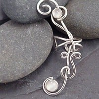 Sterling Silver Moonstone EAR CUFF - MOONFLOWER