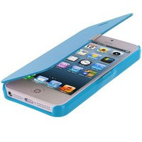 Amazon.com: Baby Blue Leather Folio Pouch Case Cover for Apple iPhone 5 5G 5th: Cell Phones & Accessories