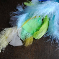 BLUE OMBRE Feather Extension // Handmade Festival Hair Clip in Extension // Long Blue Green Yellow