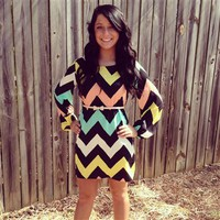 Black White Yellow Peach Mint Chevron Dress - Small