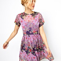 ASOS Smock Dress In Patchwork Print at asos.com
