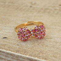 Sparkling Bow Ring [3841] - $9.00 : Vintage Inspired Clothing &amp; Affordable Fall Frocks, deloom | Modern. Vintage. Crafted.