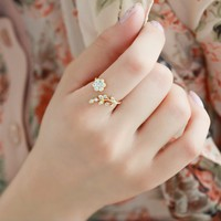 Fashion Rhinestone Adjustable Flower Ring