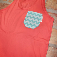 Coral Tank with Aqua Chevron Fabric Pocket