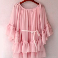 Dramatic Butterfly Sleeves Ruffles Pink Chiffon Top. Bohemian Top