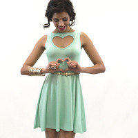 Heart Of Gold Mint Cut Out Skater Dress