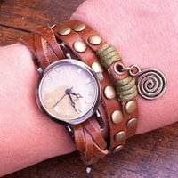 Vintage Style Wrist Watch Brown Leather Bracelet  Wrap Watch, Handmade Women's Watch, Rivet Watch, Everyday Bracelet  PB034