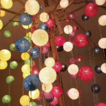 Colour Mixed Set 35 of Cotton Balls String Lights Patio Wedding and Home Decorate By I Love Handicraft (35 Balls/set)