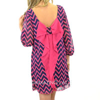Suzy Bell Navy &amp; Pink Chevron Bow Dress