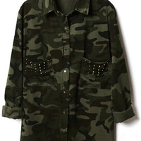 ROMWE | Riveted Pockets Camouflage Shirt, The Latest Street Fashion