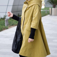 Breathing wind /spring hooded Coat /Splicing Threaded sleeve hooded windbreaker