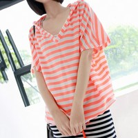 Candy Color Stripe Lace-up Hooded Loose V-neck