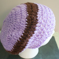 Womens Beanie, Slouchy Cap, Spring Fashion Hat, Lightweight Cap, Purple Crochet Hat, Womens Fashion Hat, Purple Stripe Cap, Dread Hat