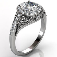 14k white gold diamond unusual unique floral engagement ring, anniversary ring, wedding ring ER-1056-1