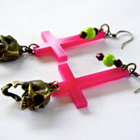 Inverted Cross Earrings with Skull Charms