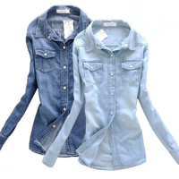 Long Denim Slim Shirt/Blouse